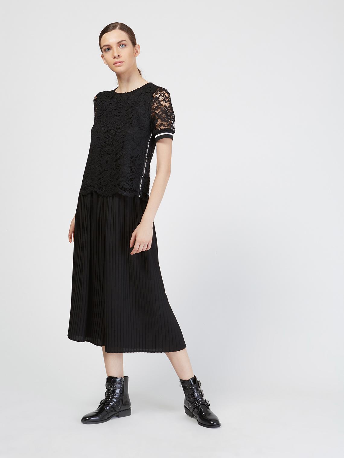 Motivi Pantaloni coulotte plissé - Taglia 40 Nero ALTRI MATERIALI
