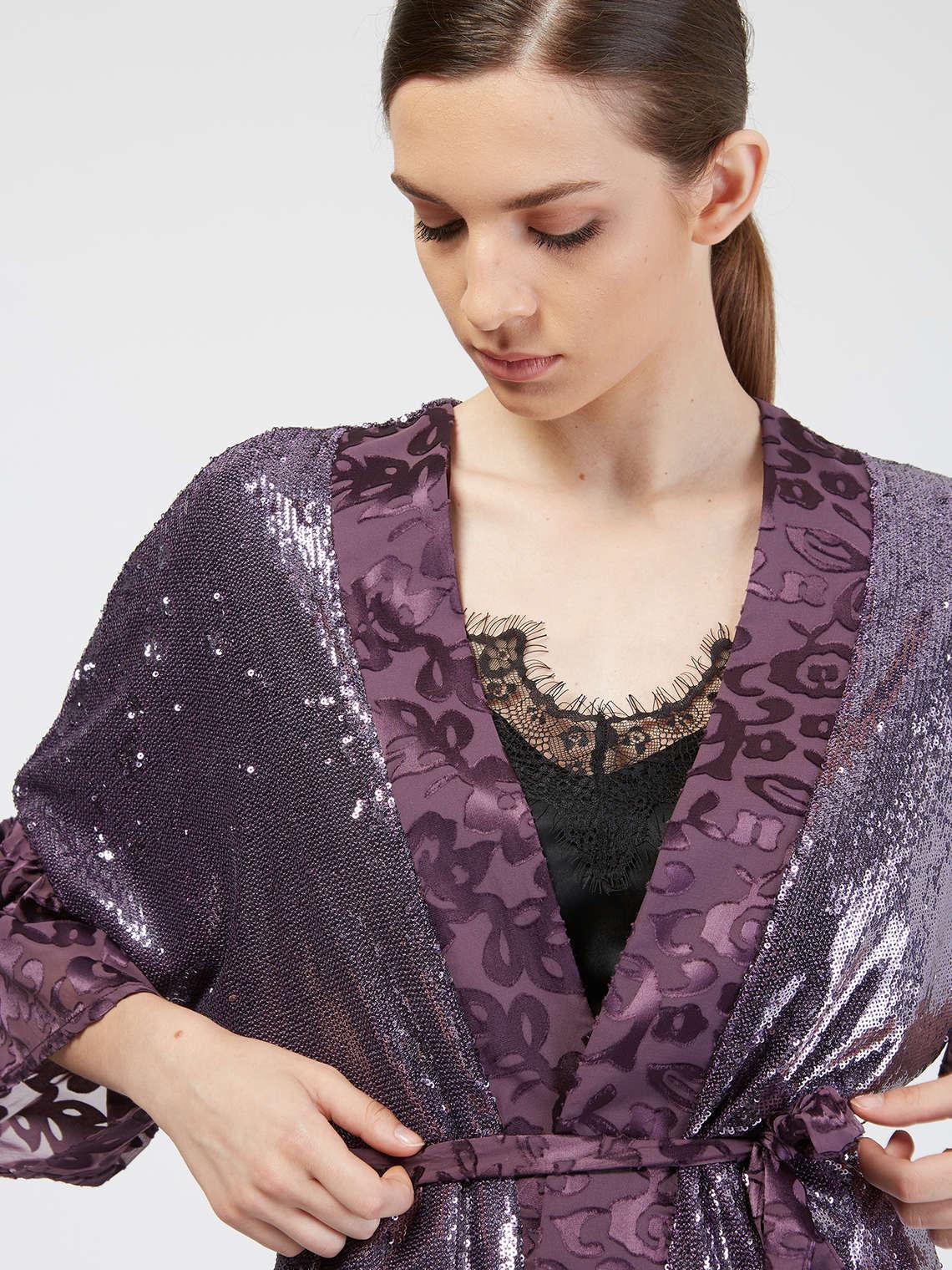 Motivi Kimono con paillettes - Taglia 02 Viola ALTRI MATERIALI