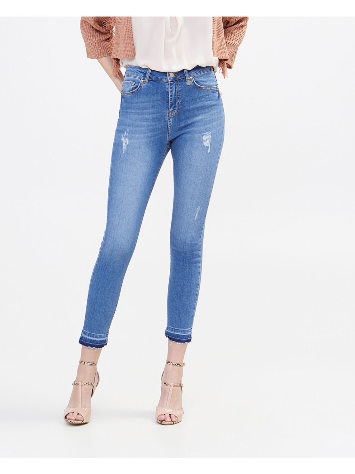 c0df68020d7 Medium wash high-waist skinny jeans - Motivi.com - GB