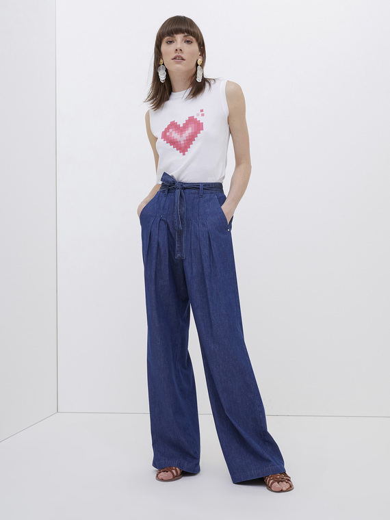 Motivi Jeans palazzo in chambray Donna Blu