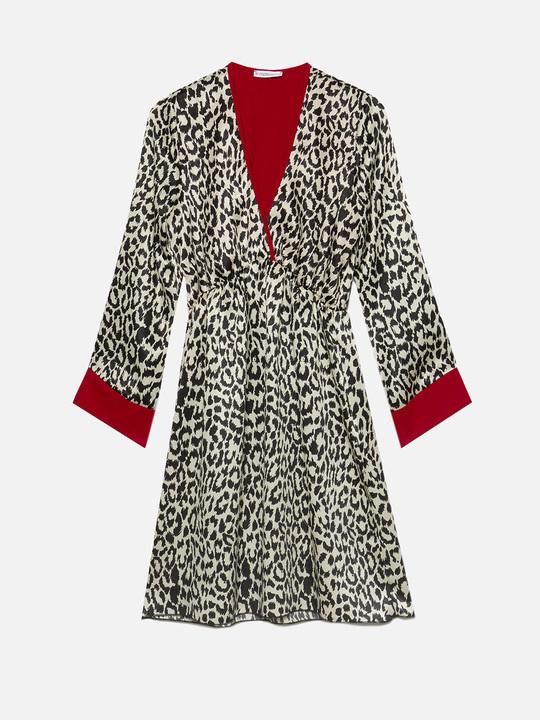 ... Motivi  Vestito animalier con bordi a contrasto Nero 1 9705eede1bf0