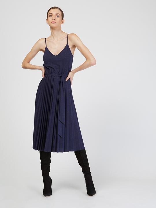 Motivi Vestito lurex plissé Blu_1