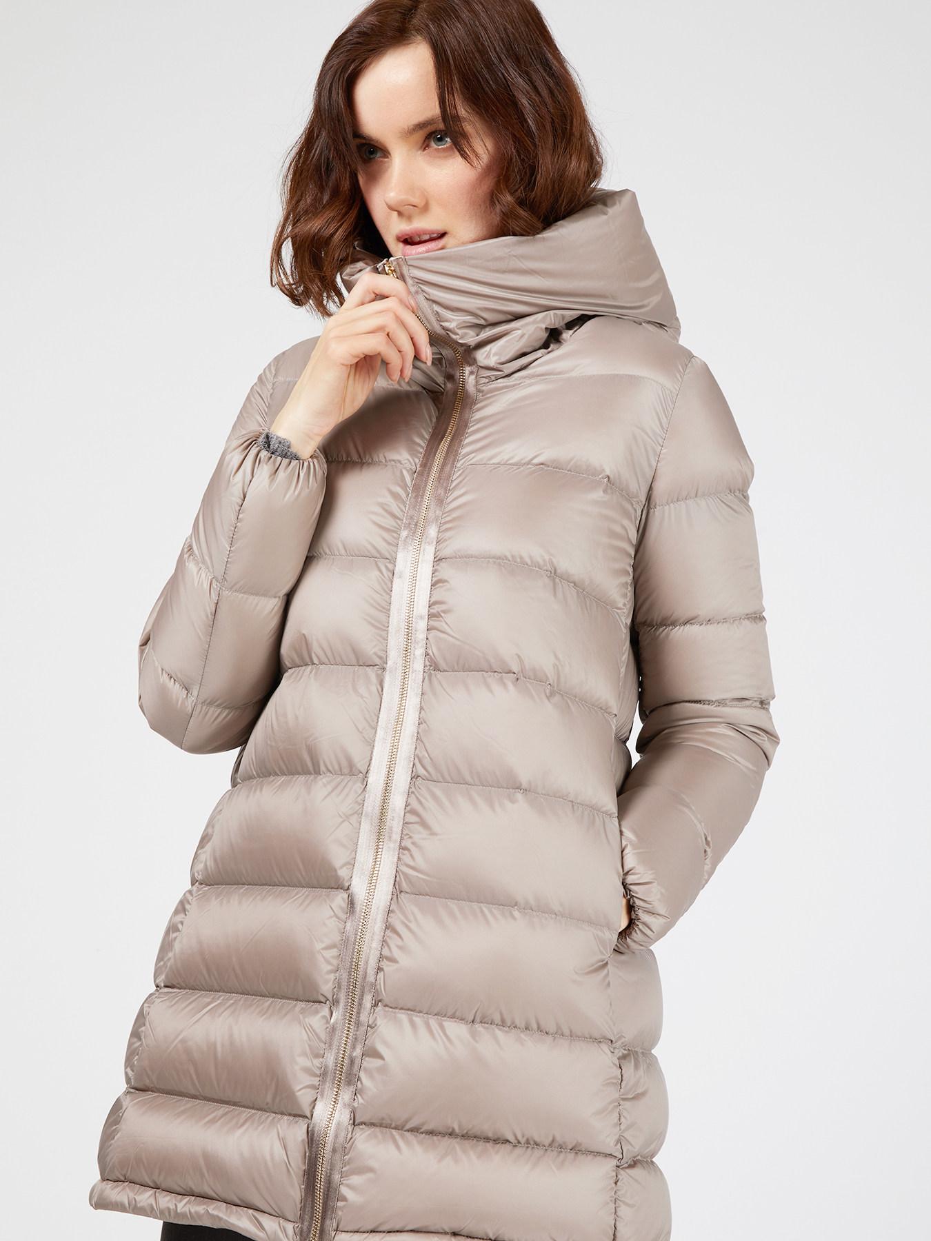 Straight-cut hooded down jacket. - Motivi.com - FR 2ea1d27a85c0