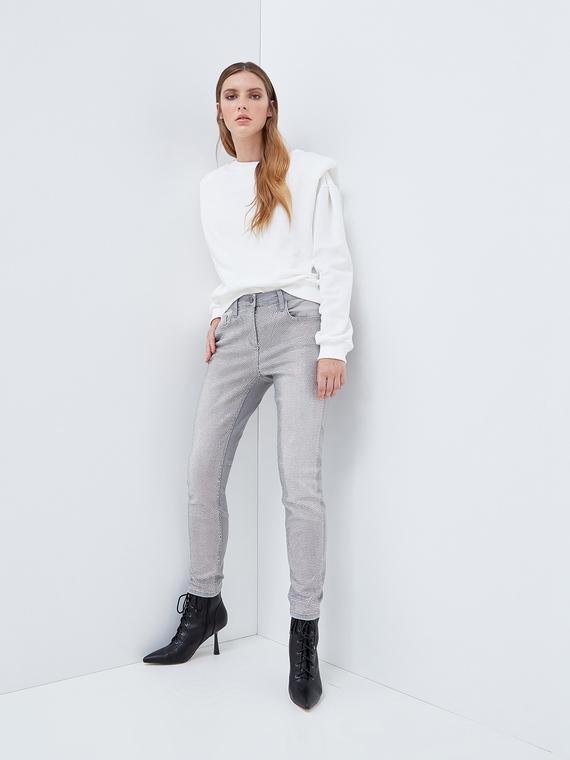 Motivi Jeans skinny push up con strass crystal Donna Grigio