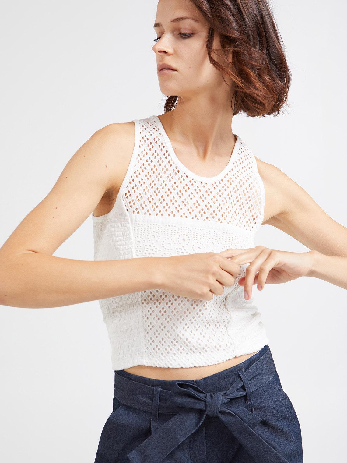 4c58e3008324 Motivi: Short Broderie Anglaise fabric top_1