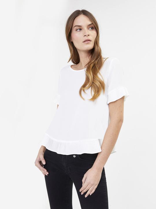 a88dfc8ab9b224 Motivi: Blusa maniche corte con parti plissé Bianco_1 ...
