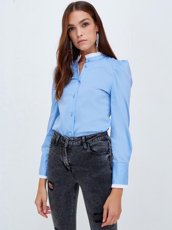 Motivi Camicia con bordi a contrasto Donna Blu