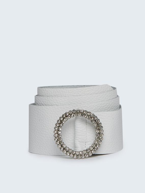 Motivi Fusciacca in vera pelle con fibbia gioiello Donna Bianco