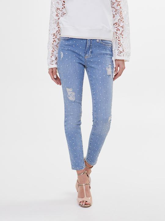783e4bb3f8ba67 Motivi: Jeans skinny con pioggia di strass Blu_1 ...