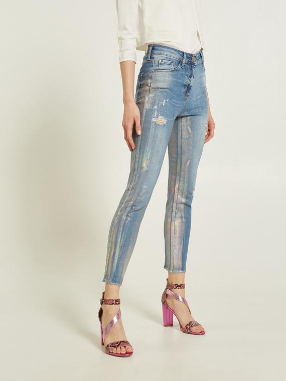 Motivi Jeans skinny modello Gisele effetto metallizzato Donna Blu