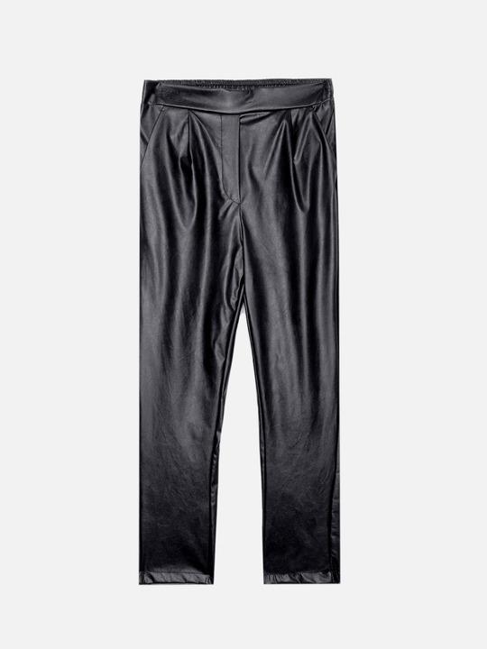5bed7705c74341 ... Motivi: Pantaloni chino effetto pelle Nero_1