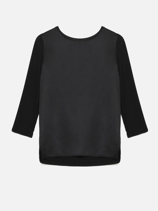 ... Motivi  T-shirt bimaterica maniche a tre quarti Nero 1 b57585676f24