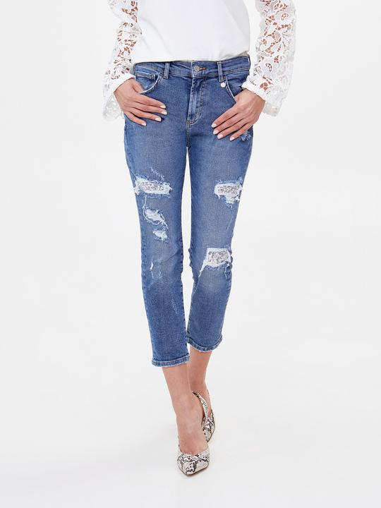Jeans slim boyfriend con paillettes 023e9ab9354d