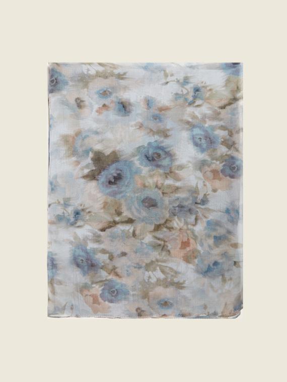 Motivi Foulard floreale in seta Donna Grigio