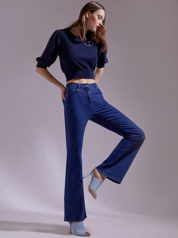 Motivi Jeans flare a vita alta Donna Blu