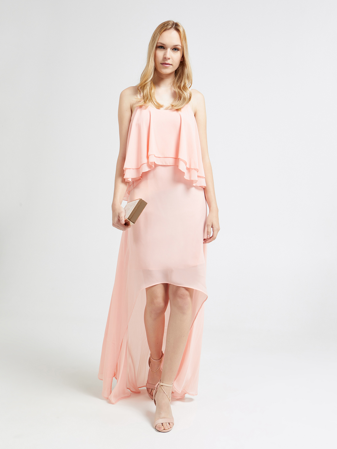9373740872 Asymmetrical dress with ruffles - Motivi.com - GB