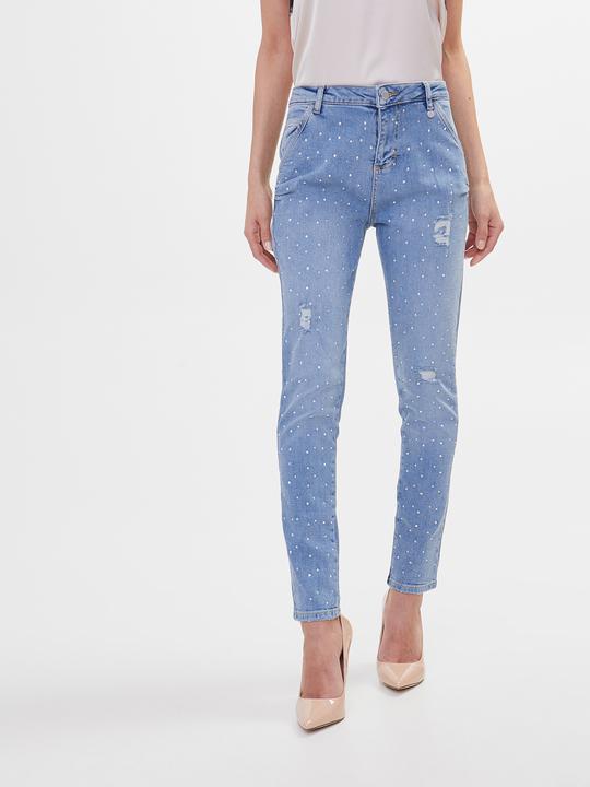 fcff0bf15161 Motivi: Jeans boyfriend con pioggia di strass Blu_1 ...