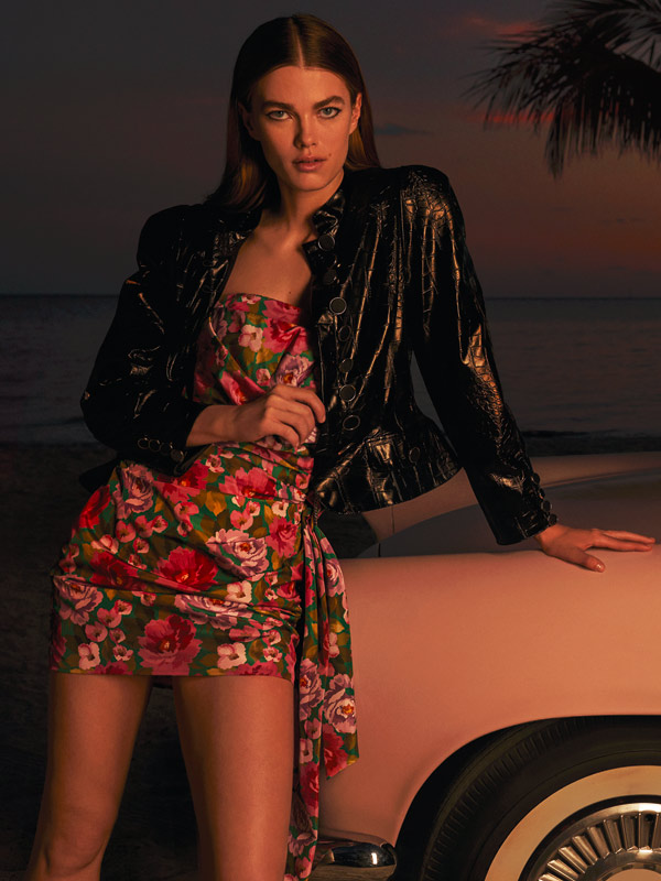 Smart Couture Motivi - Minidress in taffetà e giacca in similpelle stampa cocco