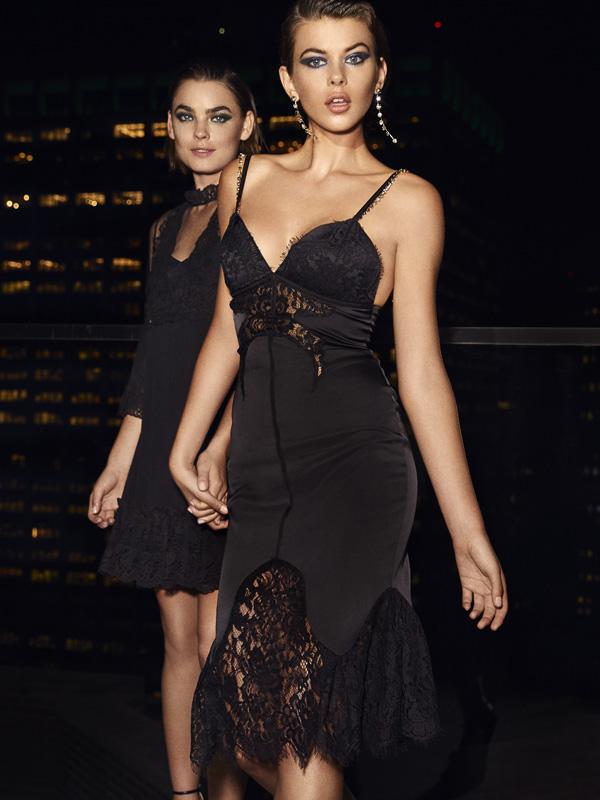 Smart Couture Motivi - Abito lingerie in raso e pizzo