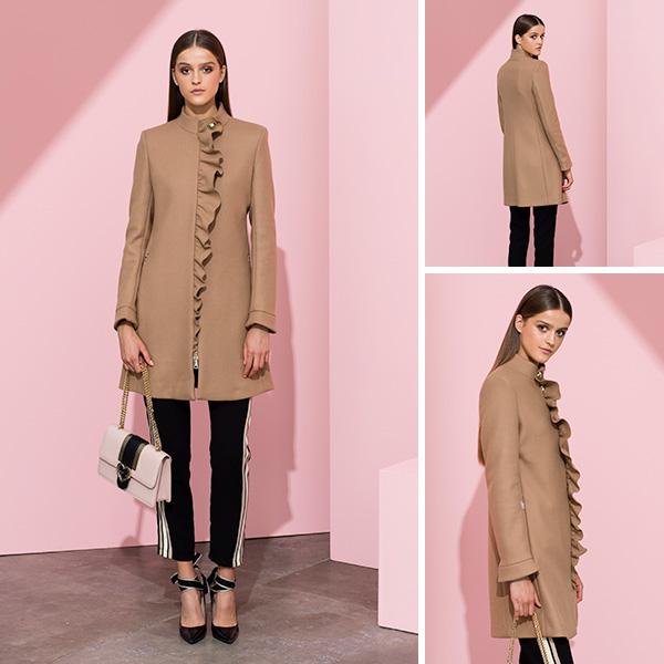 Cappotto in lana con rouches 3c940d3637f8
